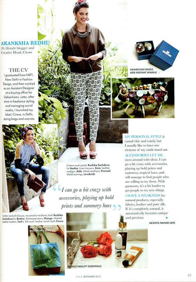 ELLE Magazine  { September 2013 } - Featuring Akanksha Redhu
