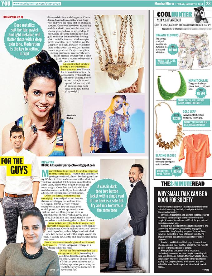 Media Feature | Mumbai Mirror | www.akanksharedhu.com