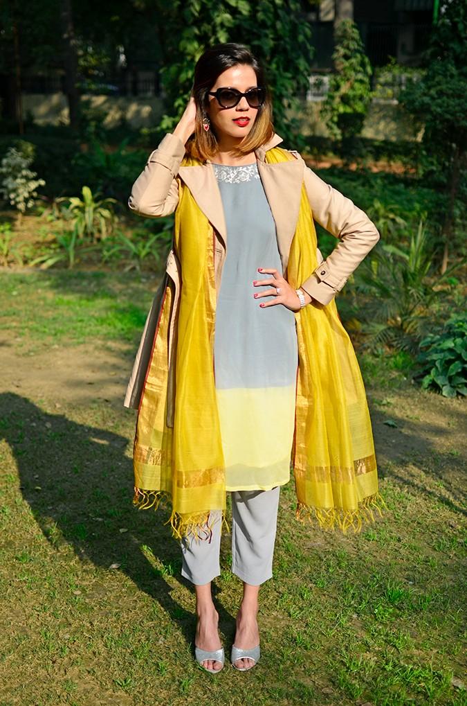 Indo-Western Style | Kokum | Akanksha Redhu | full front coat open one hand up