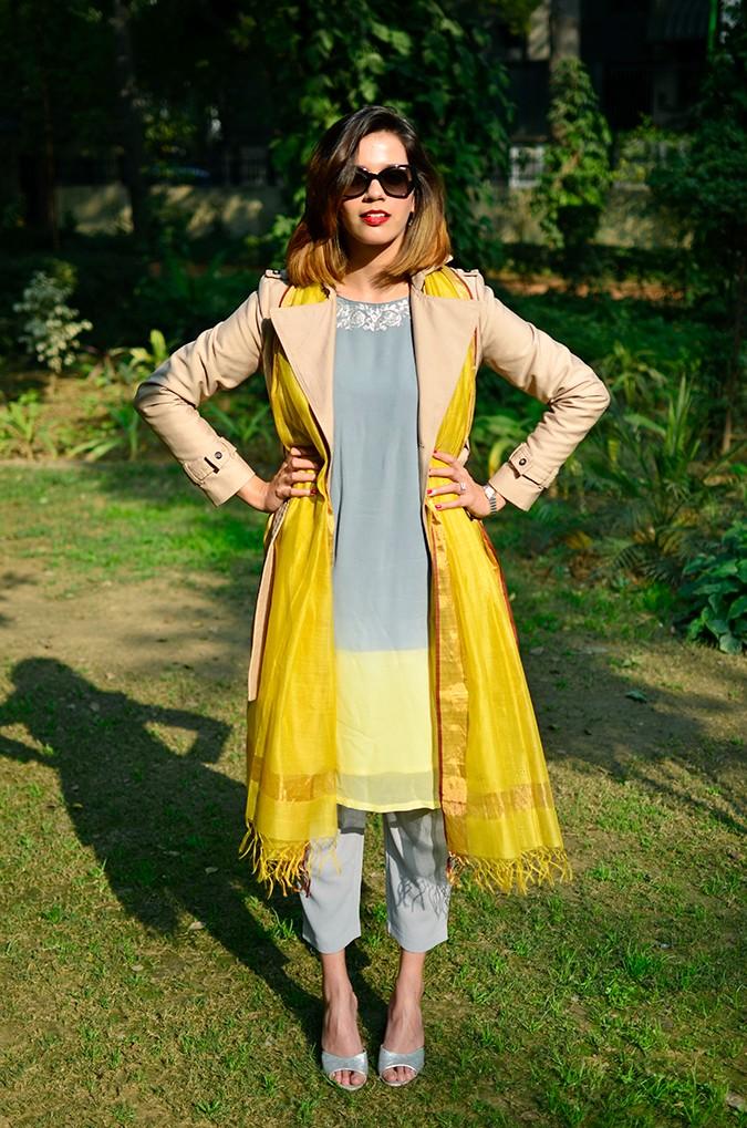 Indo-Western Style | Kokum | Akanksha Redhu | full front coat open both hands on waist