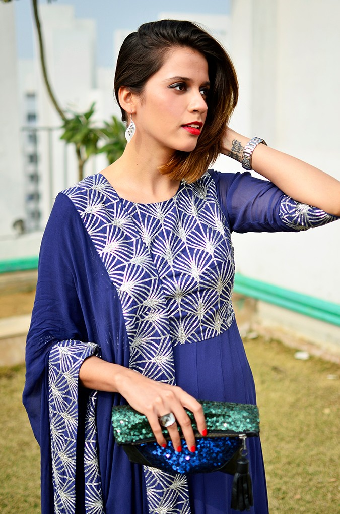 Indianwear | Blue & Silver Anarkali | Akanksha Redhu | front half arm up