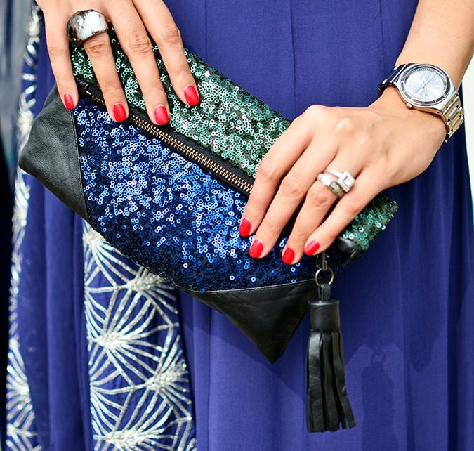 Indianwear | Blue & Silver Anarkali | Akanksha Redhu | clutch close up