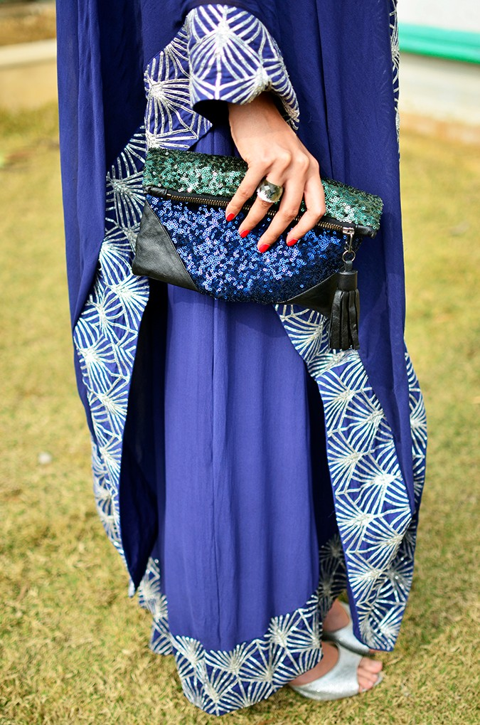 Indianwear | Blue & Silver Anarkali | Akanksha Redhu | side bottom with clutch