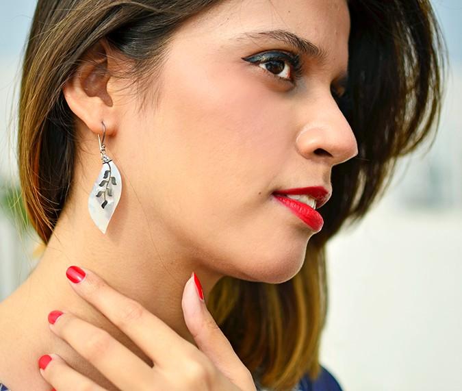 Indianwear | Blue & Silver Anarkali | Akanksha Redhu | earrings