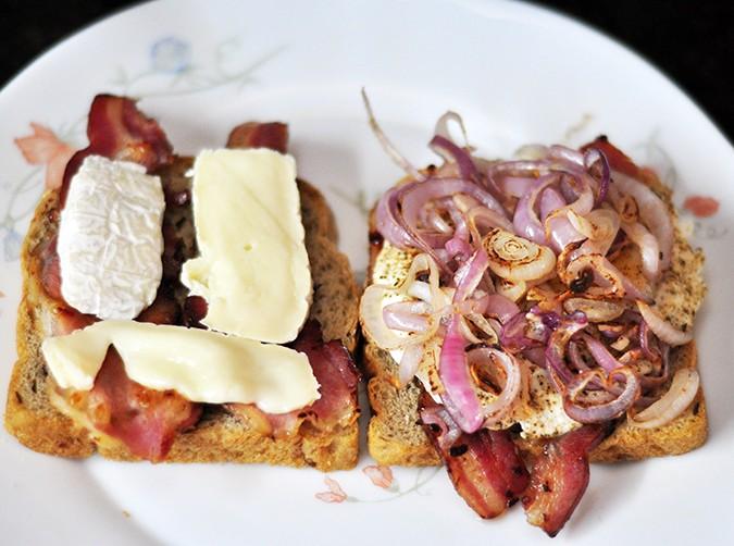Bacon & Brie Egg Sandwich | Akanksha Redhu | onions arranged on top of egg