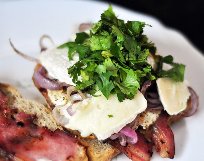 Bacon & Brie Egg Sandwich | Akanksha Redhu | with coriander on top