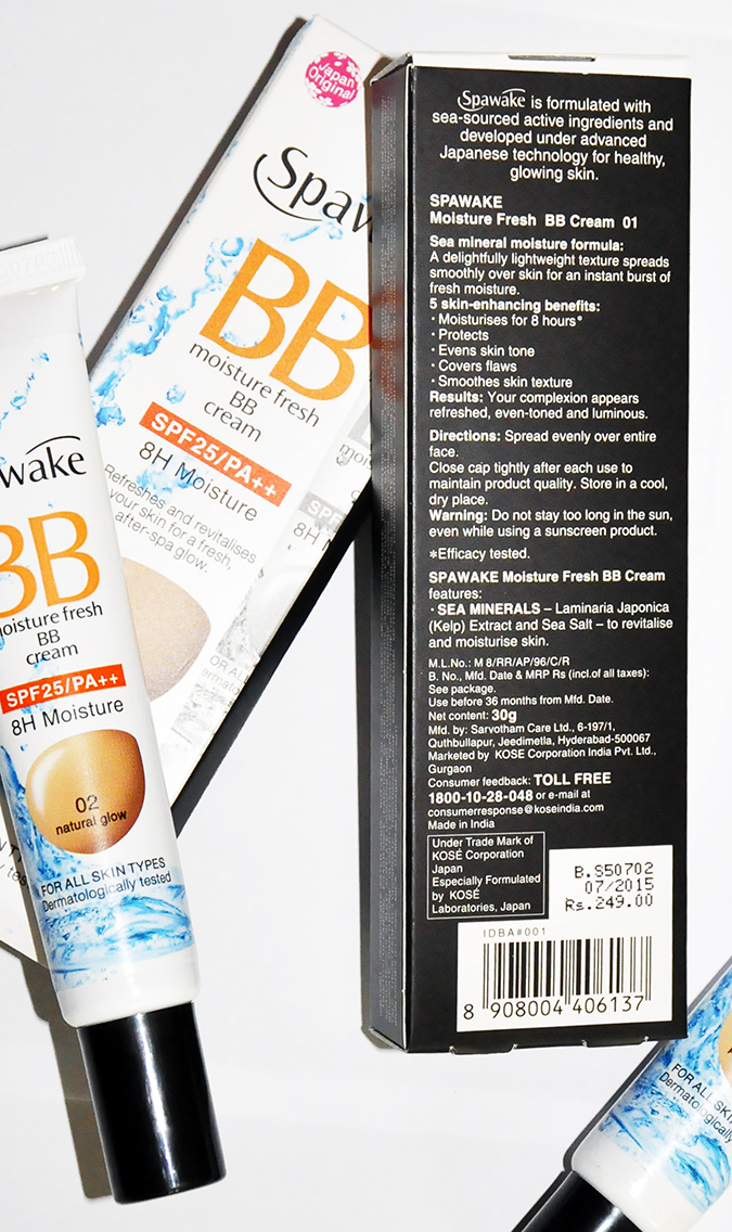 Spawake BB Moisture Fresh | BBcream | Akanksha Redhu | back of carton