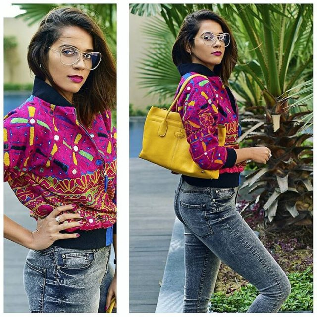 Color Riot on httpakanksharedhucom wearing laldesignstudio handcrafted bomber jacket prelovedhellip