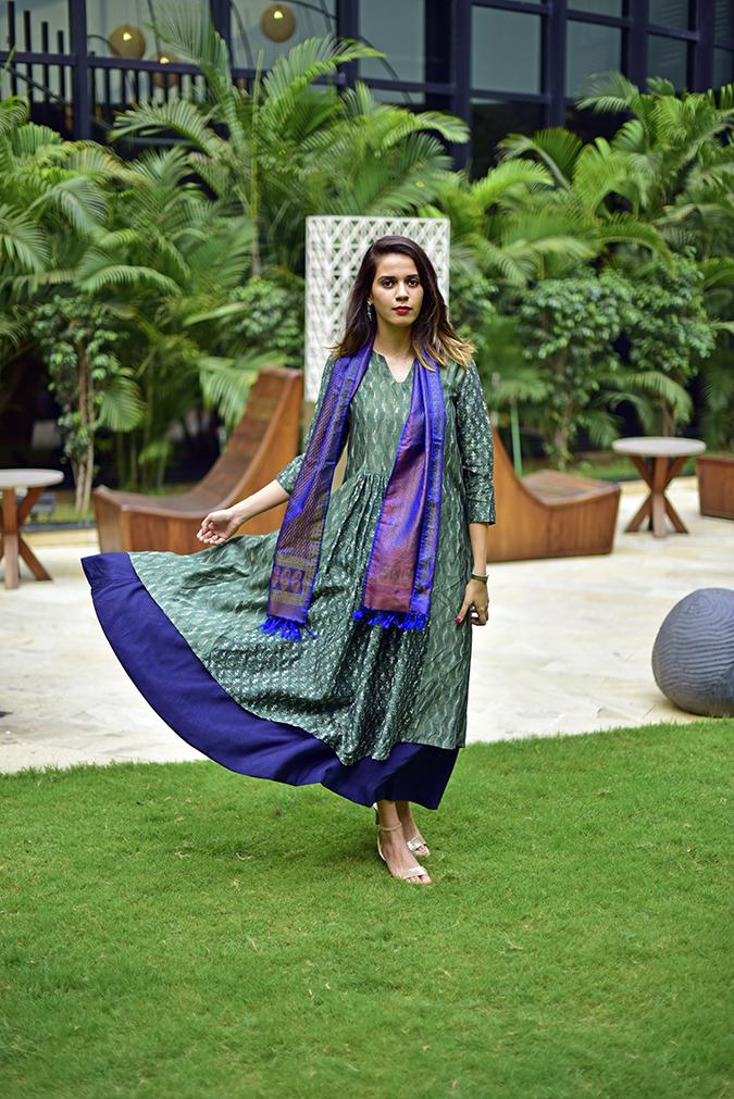 Amazon India Modern Festive | Akanksha Redhu | full front flying one side of kurta