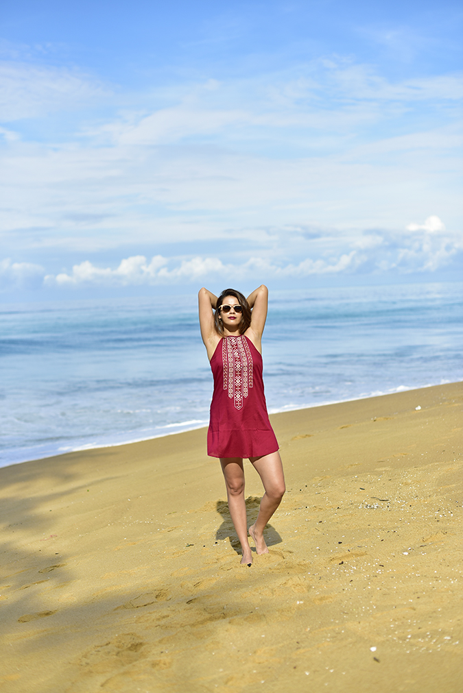 Sbuys | Akanksha Redhu | full front both arms up beach