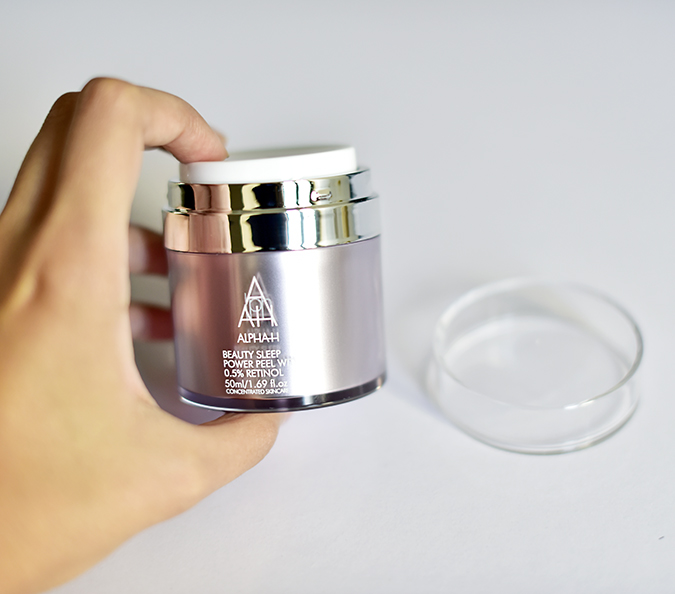 Alpha-H Beauty Sleep Power Peel | Akanksha Redhu | holding bottle no lid wide