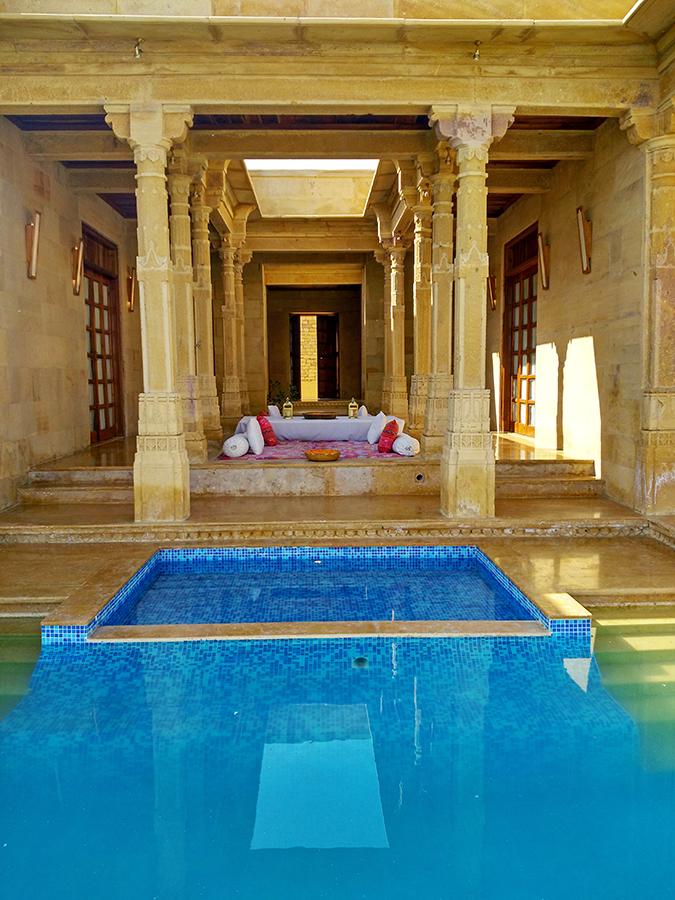 Suryagarh Jaisalmer | Akanksha Redhu | pool indoor villascape phone