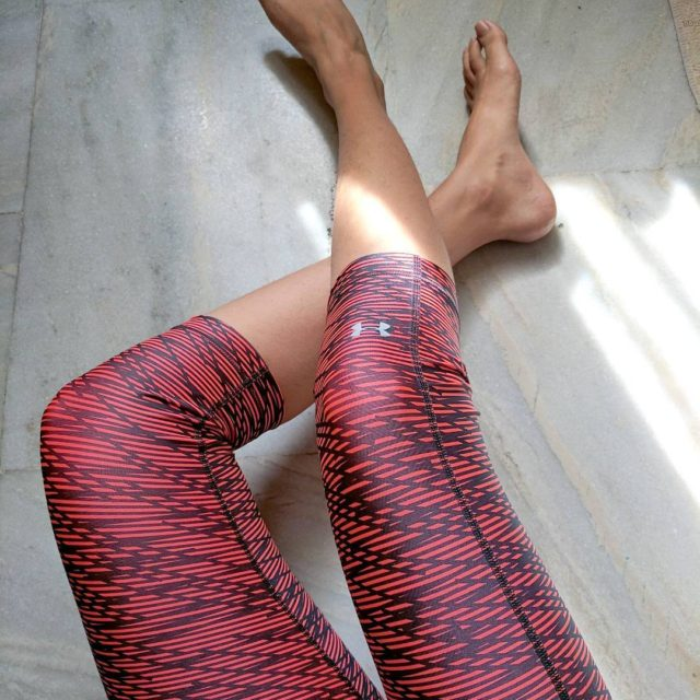 Taking my underarmour tights for a yoga spin today Availablehellip